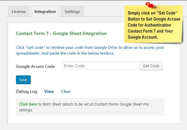CF7 GET Google Access Code