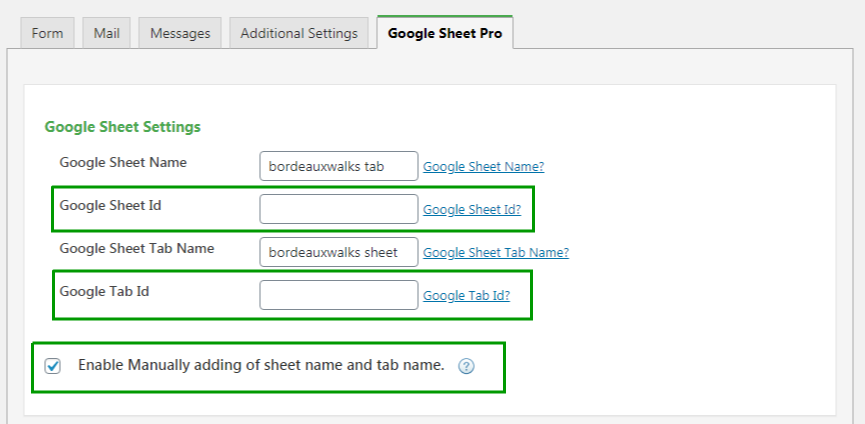 google sheet and tab id pro