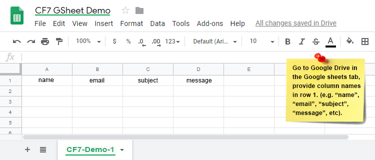 Add CF7 Custom Google Sheet Header Names