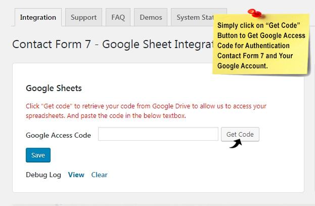 get cf7 google acess code