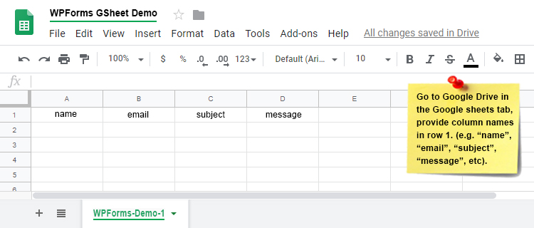 WPforms Google Sheet