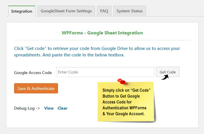 WPforms Get Google Access Code