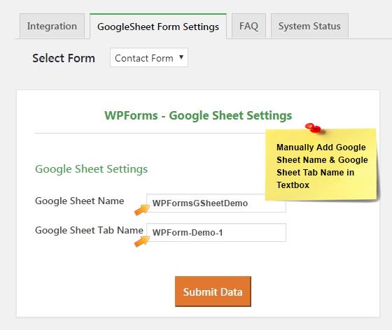 WPforms Add Manual Sheet Name