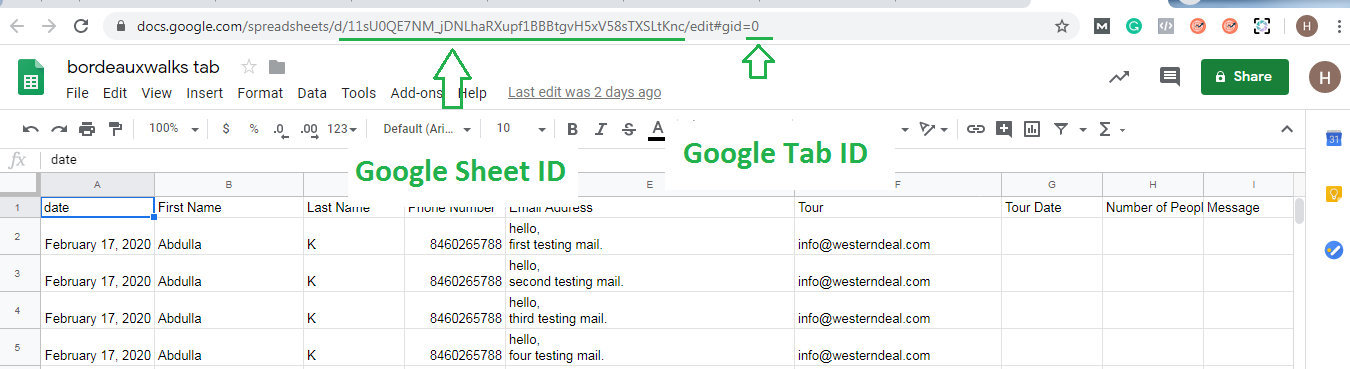 google sheet and tab id