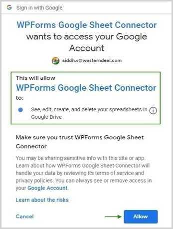 WPForms Google Access Google Account