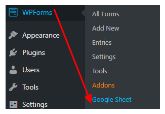 wpforms gsheet menu