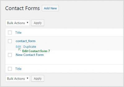 Contact form edit