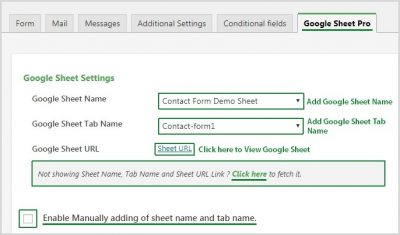 Google Sheet Setting