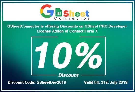 GSheetConnector Discount Offer