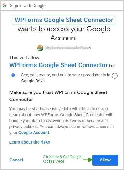 WPForms Gsheet Access Google Account