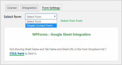 Select Form to Connect with GoogleSheet