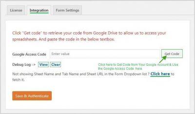 WPForms Gert Google Access Code