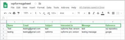 Contact Data store in Google Sheet