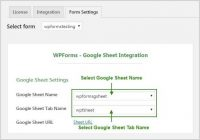 Wpforms Select GSheet Name & Tab Name