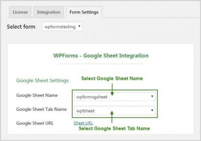 Wpforms Select GSheet Name & Tab Name
