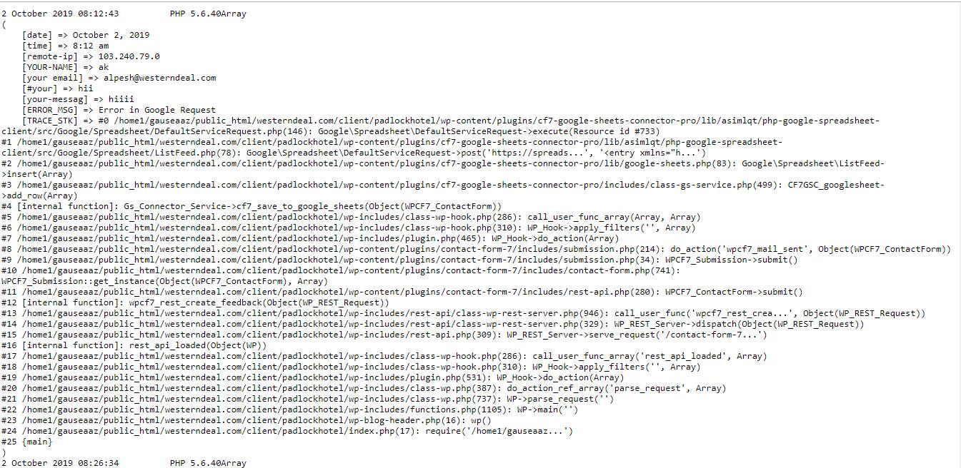debug view – Google Sheet Connector
