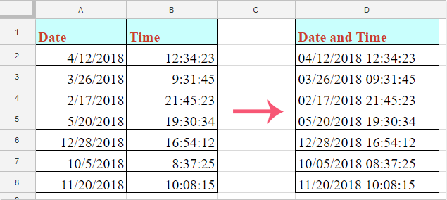 doc combine date time 01 – Google Sheet Connector