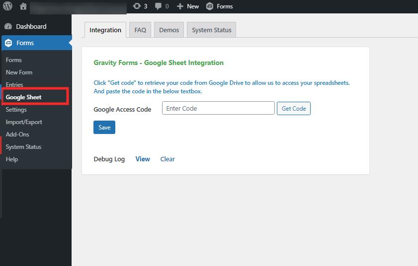 Gravity Forms Google Sheet Step-1